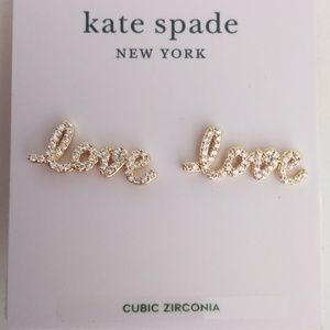 "Kate Spade New Cubic Zirconia ""love"" Earrings"